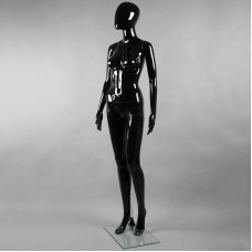 Манекен женский ростовой без лица, черный глянец FA-7B