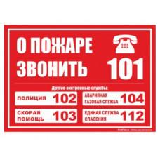 """Табличка """"СЛУЖБЫ СПАСЕНИЯ"""" 100*100мм, ПВХ"""