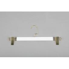 Вешалка (плечики) для одежды деревянная, с прищепками WS 006/1(бел/зол)