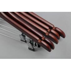 Вешалка деревянная с зажимами для брюк и юбок 66NB(красн)