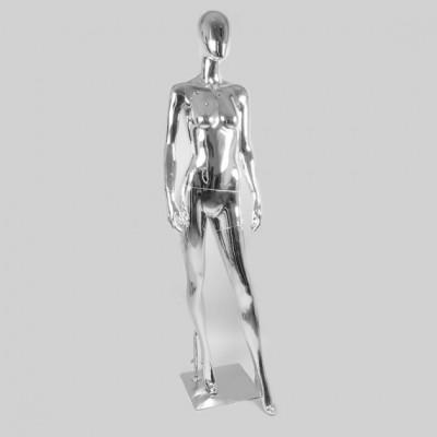 Глянцевый манекен женский ростовой, хром RKAB1-S