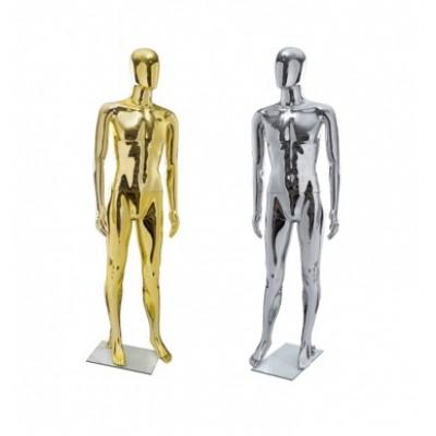Глянцевый манекен без лица хром/золото МЕ-2