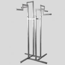 Стойка (вешало) напольная для одежды, регулируемая с 4-мя ступенчатыми кронштейнами СТ-42-2-Л(хром)