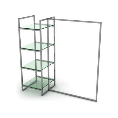 Вешало одинарное однорядное PRS.015 с прозрачным стеклом